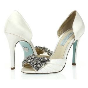 Betsey Johnson White Gown Jewelled Satin Heels